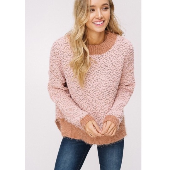 2 Left Blush Two Tone Popcorn Sweater Boutique